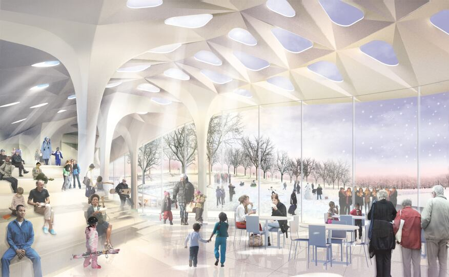 The pavilion features a canopy-like green roof that allows dappled light to filter into a small café overlooking the Tidal Basin.