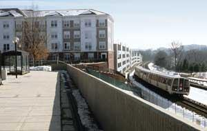 """Avalon at Grosvenor Station is located in North Bethesda, Md., at the Grosvenor Metro Station. AvalonBay's 497-unit community gives residents easy access to Washington.Jennifer A. Johnston""""There's one train of thought in business planning today: Follow the stations,"""" says Brad Griggs, CIO for BRE Properties, a real estate investment trust (REIT) in San Francisco. """"Wherever you see light rail put in, you see multifamily housing around those stations."""""""