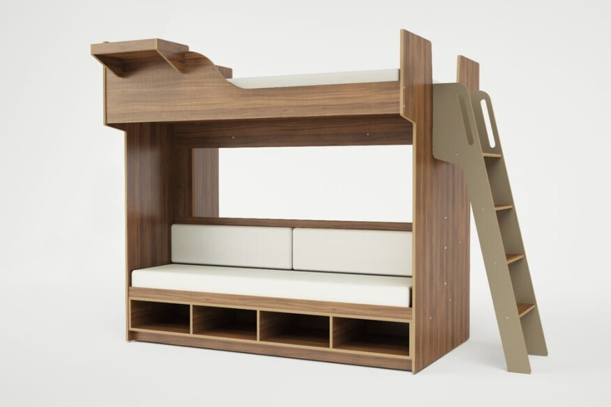 The Arca queen loft bed features a bench, open storage space, and a desk underneath the sleeping space.