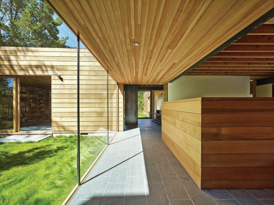 Spiegel professed a desire to make the house as low-maintenance as possible, with durable finishes like the stone floor and cedar cladding that will weather for the next 50 years.