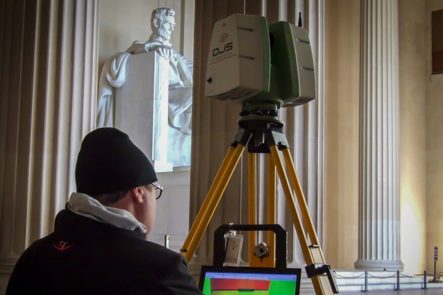 A worker laser scans the Lincoln Memorial. The data will be included in a digital database of world heritage sites run by the nonprofit CyArk.
