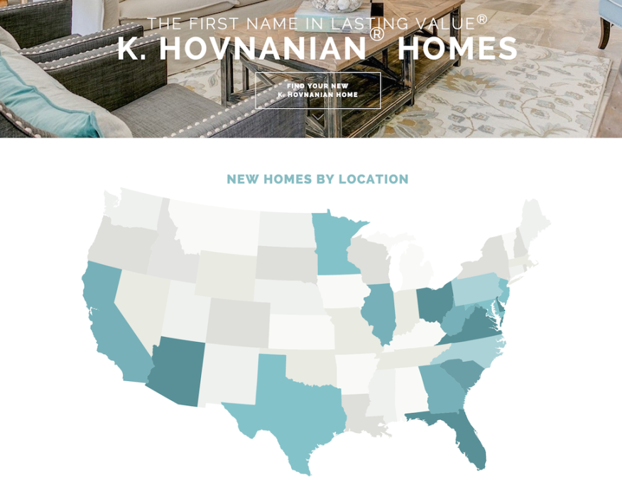 Hovnanian Homes footprint 2016