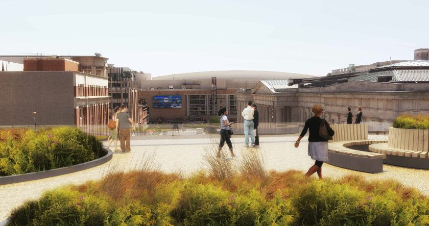 Rendering of proposed rooftop terrace looking in the direction of the Verizon Center. (Jan. 2015)