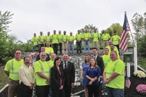 Plymouth Township public works employees built a memorial in honor of a police officer killed in the line of duty.