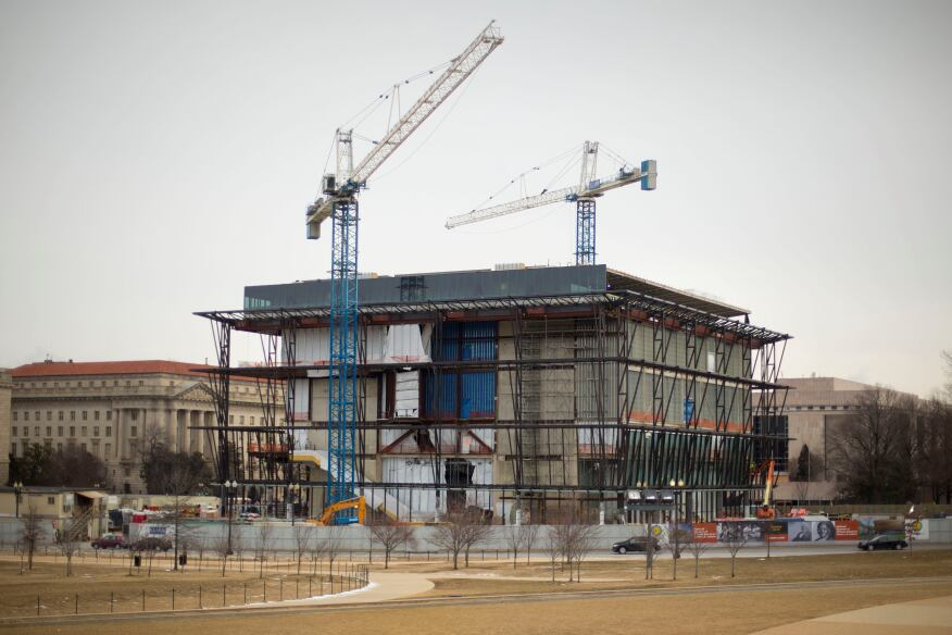 Construction continues for the Smithsonian's National Museum of African American History and Culture on the National Mall in Washington. The building will be situated between the National Museum of American History and 15th Street, next to the Washington Monument. When it opens to the public in 2016, the museum will be a centerpiece venue for ceremonies and performances, as well as a primary exhibition space for African American history and culture.