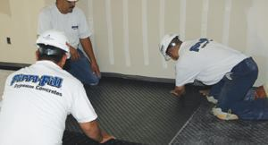 Adding the rubber Sound Mat II as part of the floor underlayment dramatically improves sound control.