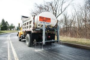 Whenever possible, try to anti-ice. Liquid is applied before the storm, so snow and ice don't get a chance to bond to pavement.