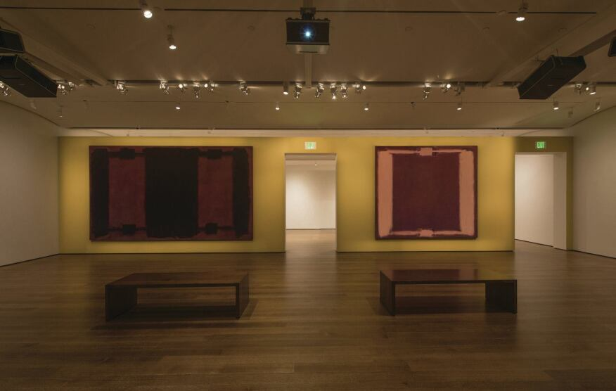 Mark Rothko's Panel Four and Panel Five (Harvard Mural), with restored colors.