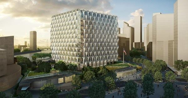 A rendering of the U.S. embassy in London, designed by KieranTimberlake