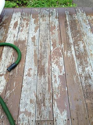Before: Weathered and failed Sikkens coating