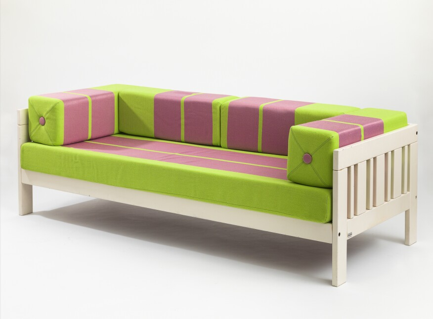 Califfo Settee, 1965; lacquered wood with original upholstery.