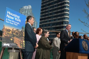 "Mayor Bill de Blasio unveils ""Housing New York: A Five-Borough, Ten-Year
