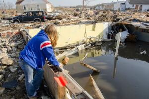 Union Beach, NJ, 12/3/12 -- Pamela Vazquez looks out over the destruction that was once her home and her town, before Hurricane Sandy hit.