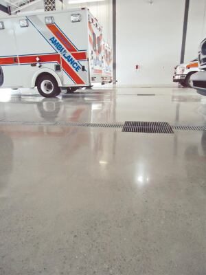 The polished concrete floor is a highlight of the five-bay, 7500-sq.-ft. ambulance station at the Clair Road Emergency Services Center in Guelph, Ontario, Canada.