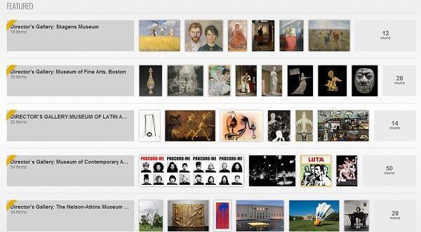 Screenshot of featured Google Art galleries