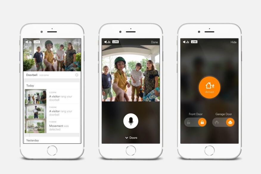 Vivint's app connects to the company's doorbell camera and automated locks, which allows users to interact with those on their door step and lock or unlock their doors.