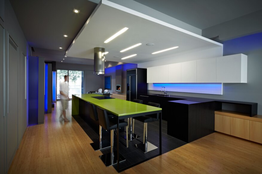 The client desired an open kitchen space to compliment his active social life.