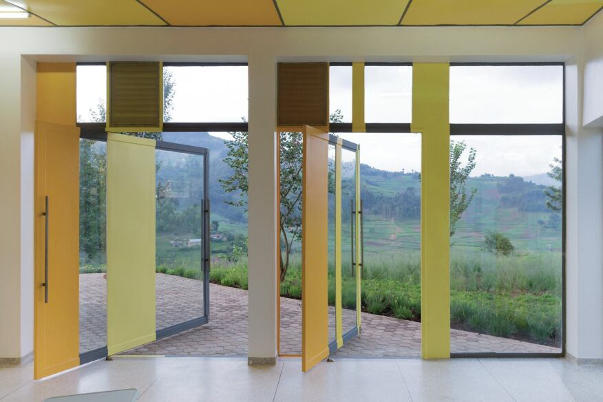 Large operable doors allow the infusion room to be opened to natural ventilation, and allow access to a patio beyond.