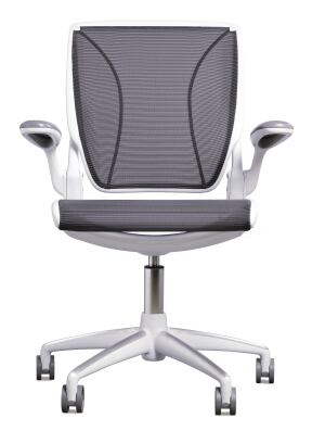 Designed by Niels Diffrient, the new Diffrient World chair from Humanscale takes ergonomic seating from the realm of high-tech back down to classic simplicity. Each chair is made from only eight major parts and weighs less than 25 pounds. Form-sensing mesh offers lumbar support, and a seat pan with a frameless front edge aids in leg comfort. Made from 95% recyclable materials.  humanscale.com
