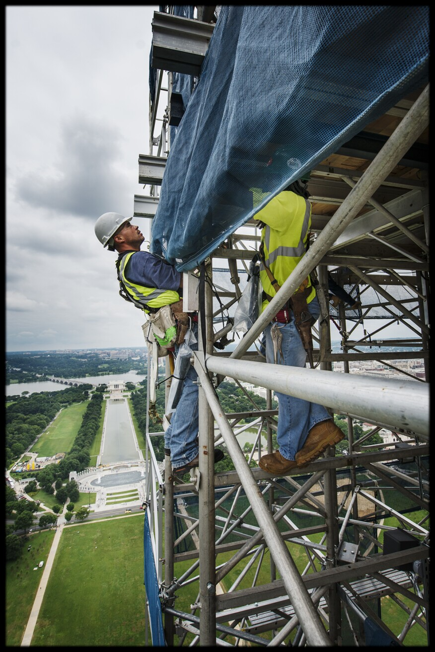 Workers on Washington Monument Scaffolding.