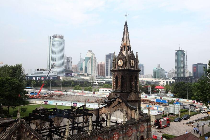 The 1872 Jiangbei Cathedral in Ningbo, China, following a fire on Monday. No casualties have been reported.