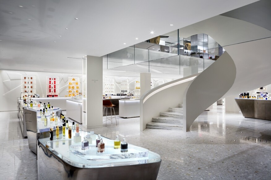 The stair landing at the Fragrance Department