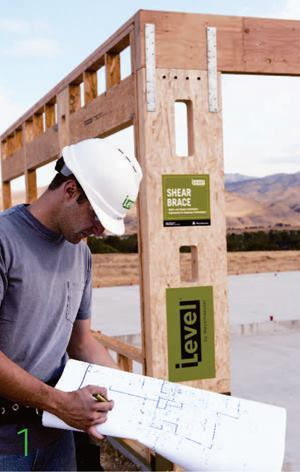 iLevel shear braceWeyerhaeuserwww.weyerhaeuser.com  Prebuilt, engineered panel    More consistent performance than site-built shear walls    Manufactured in a controlled setting    Can be used in multistory applications    Resists high lateral loads    Available in 12- and 18-foot widths, various stock, and custom heights