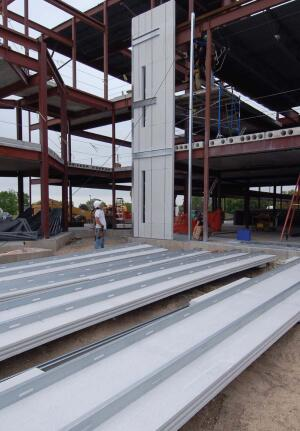 accel-E wall panels  Accelerated Building Technologies  accbt.com  Steel Thermal Efficient Panel wall system    Combines the strength of cold-formed steel framing with the insulation properties of expanded polystyrene    Advantages include energy efficiency, faster installation time, and labor savings    Alternative to conventional wood framing, insulation, and sheathing    48 inches wide