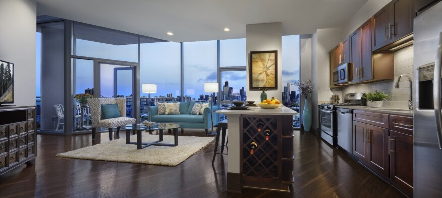 In addition to skyline views, the units at NewCity in Chicago feature 9-foot ceilings, faux-wood floors, and open plans.