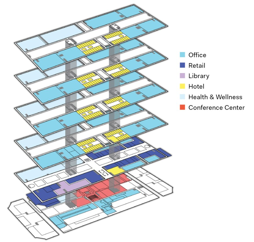 Axonometric of a renovated Bell Labs