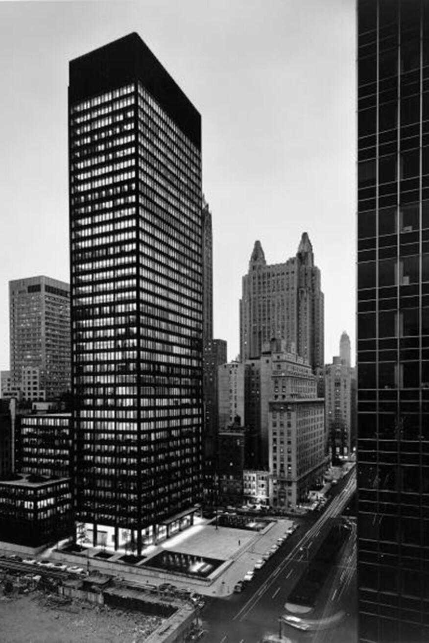 Ezra Stoller. Seagram Building, Mies van der Rohe and Philip Johnson, architects; Kahn and Jacobs, associate architects; Phyllis Lambert, Director of Planning. View from northwest at dusk, 375 Park Avenue, New York, 1958. Gelatin silver print, CCA © Ezra Stoller / Esto