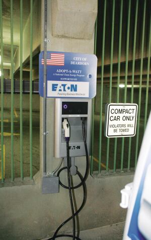 Eaton Corp. sponsored an electric vehicle charging station in Dearborn, Mich., which was the first city in the nation to move forward with Adopt-A-Watt's energy saving initiative.
