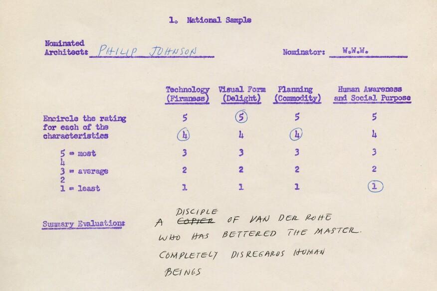 William Wilson Wurster's nominating form for Philip Johnson
