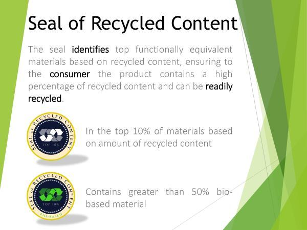 Seal of recycled content ecolabel by Chris Massey and Eliot Spronk.