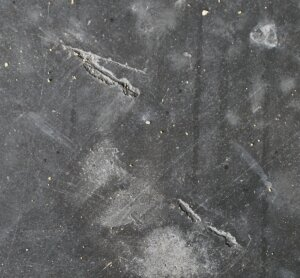 Exposed steel fibers in slab 1.