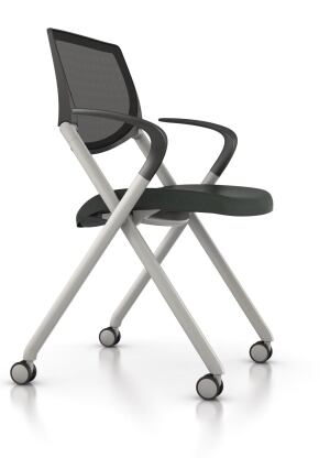 These durable, comfortable, and versatile chairs from Allsteel are suitable for training rooms, caf©s, and other multipurpose areas in office, hospitality, and educational settings. Seek compactly stacks and nests, is lightweight, and does not require a cart when stacked. Automatic ergonomics are built in, and the chairs flexing back encourages body movement. The pivot is positioned where the user needs support and where the body naturally reclines. The frame is available in a silver or black finish, with a polymer seat and back available in a choice of eight colors. A mesh back, available in dusk, is also an option. The chair can be ordered with or without arms and with multisurface casters or glides. allsteeloffice.com