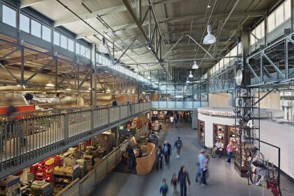 The main exhibition floor of the Exploratorium, looking into the shop, where exhibits are created.