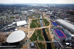 Aerial view of the Olympic Park looking south towards Canary Wharf. Picture taken on 16 April 2012.
