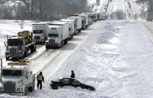 More than 2,000 Wisconsin motorists were stranded on I-39/90 when a severe snowstorm struck the southern portion of the state Feb. 5 – 7, 2008. Although interagency coordination was excellent at the beginning of the storm, it became nonexistent as darkness fell on the stranded motorists, according to a report by the state's adjutant general. Photo: Joseph W. Jackson III/Copyright Wisconsin State Journal. Reprinted with permission.