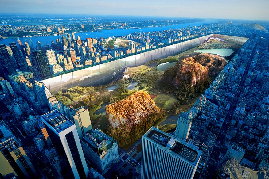 The winner of the 2016 eVolo Magazine Skyscraper Competition turns New York's Central Park into a sunken natural refuge lined with a mixed-use development.