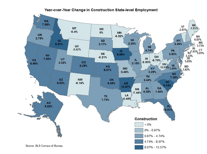 Where is Construction Employment Growing Fastest?