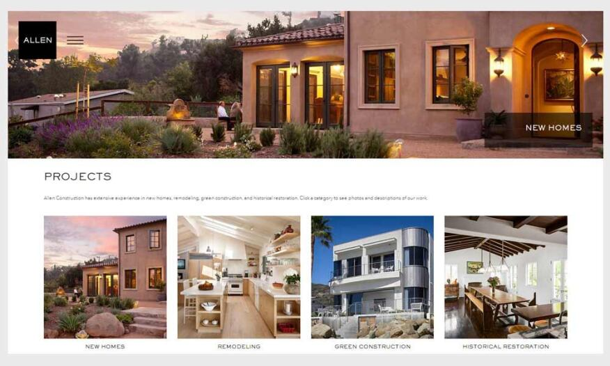 Allen Construction's rebranding effort encompasssed a name change and a completely new website, www.buildallen.com.