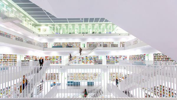 """Home of Knowledge."" New public Library in Stuttgart, Germany. 2014 Sony World Photography Awards 2nd place in Germany National Award."