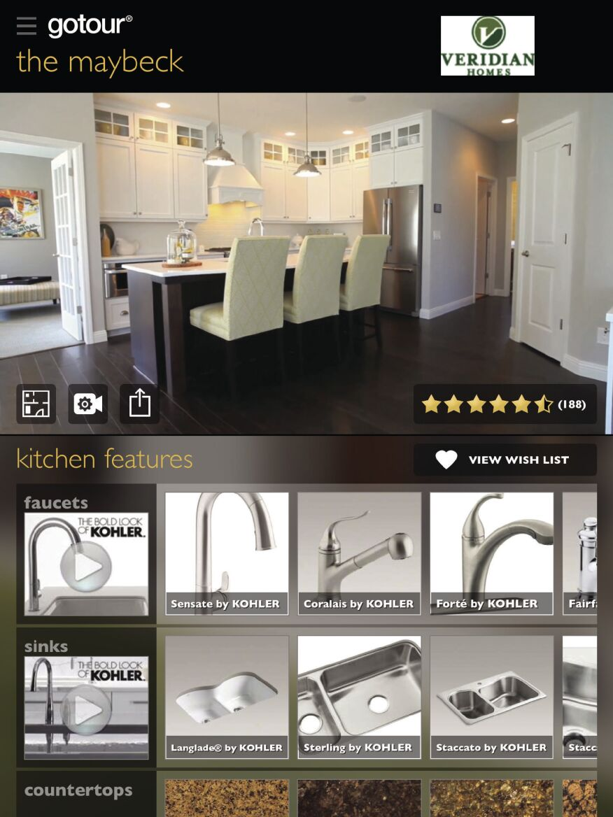 Avid Ratings' digital tours allow buyers to view different options for each room and add items to a virtual wish list.