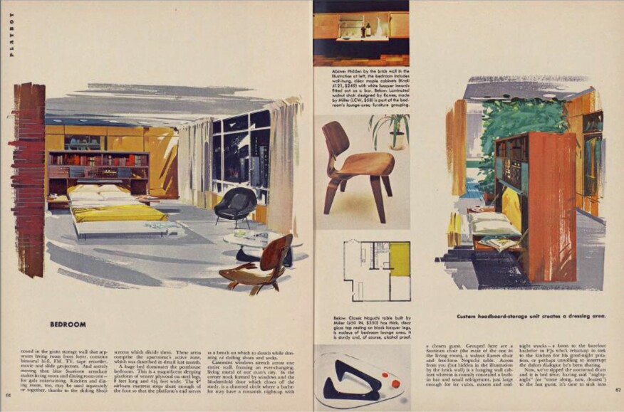 A penthouse apartment, as featured in a 1956 issue of the magazine