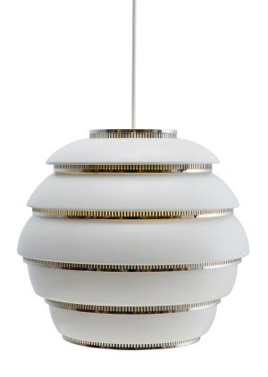 "Originally designed by Alvar Aalto in 1953, the A331 Beehive Pendant from Artek has been updated with polished chrome rings. A special offering for the companys 75th anniversary, this finish is only available in 2010. Previously the fixture, which is made of painted white aluminum, was available with only polished brass rings. It comes with a white plastic cable and has two lamping options: 15W compact fluorescent and 75W incandescent. It measures 13"" wide by 11"" tall with a cord that is 79"". artek.fi"