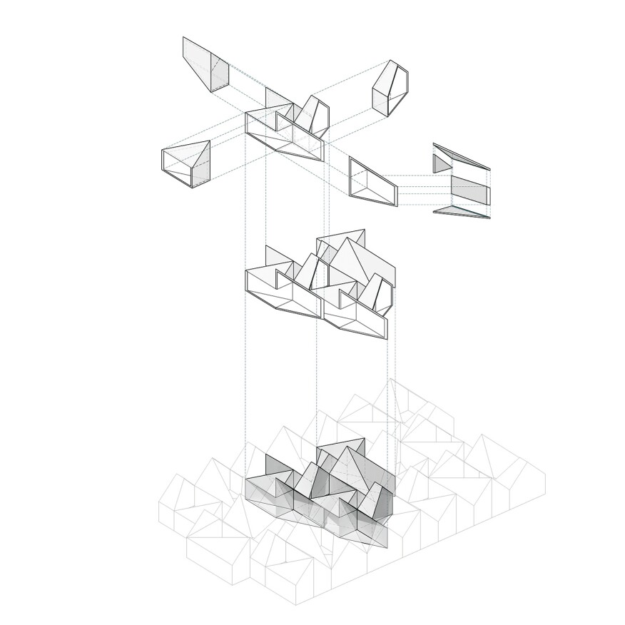Exploded axonometric for Four Corners, exhibited at the Boston Society of Architects
