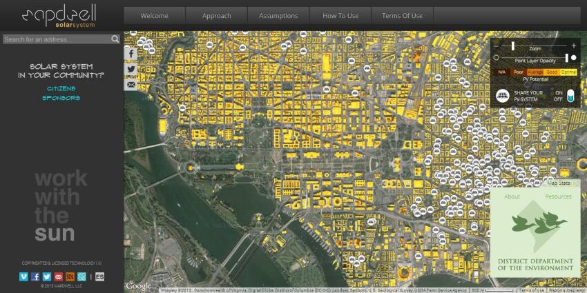 Mapdwell aims to inform urban decision-makers on the costs and benefits of installing solar arrays on residential and institutional rooftops.