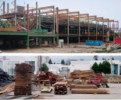 SECOND GROWTH: The old timber frame mill at Silvertree Sawmill near Vancouver, B.C., contained 400,000 board-feet of old growth fir. The wood was removed from the structure by hand and crane, nails were removed, and damage was trimmed before the wood was packaged for trucking.