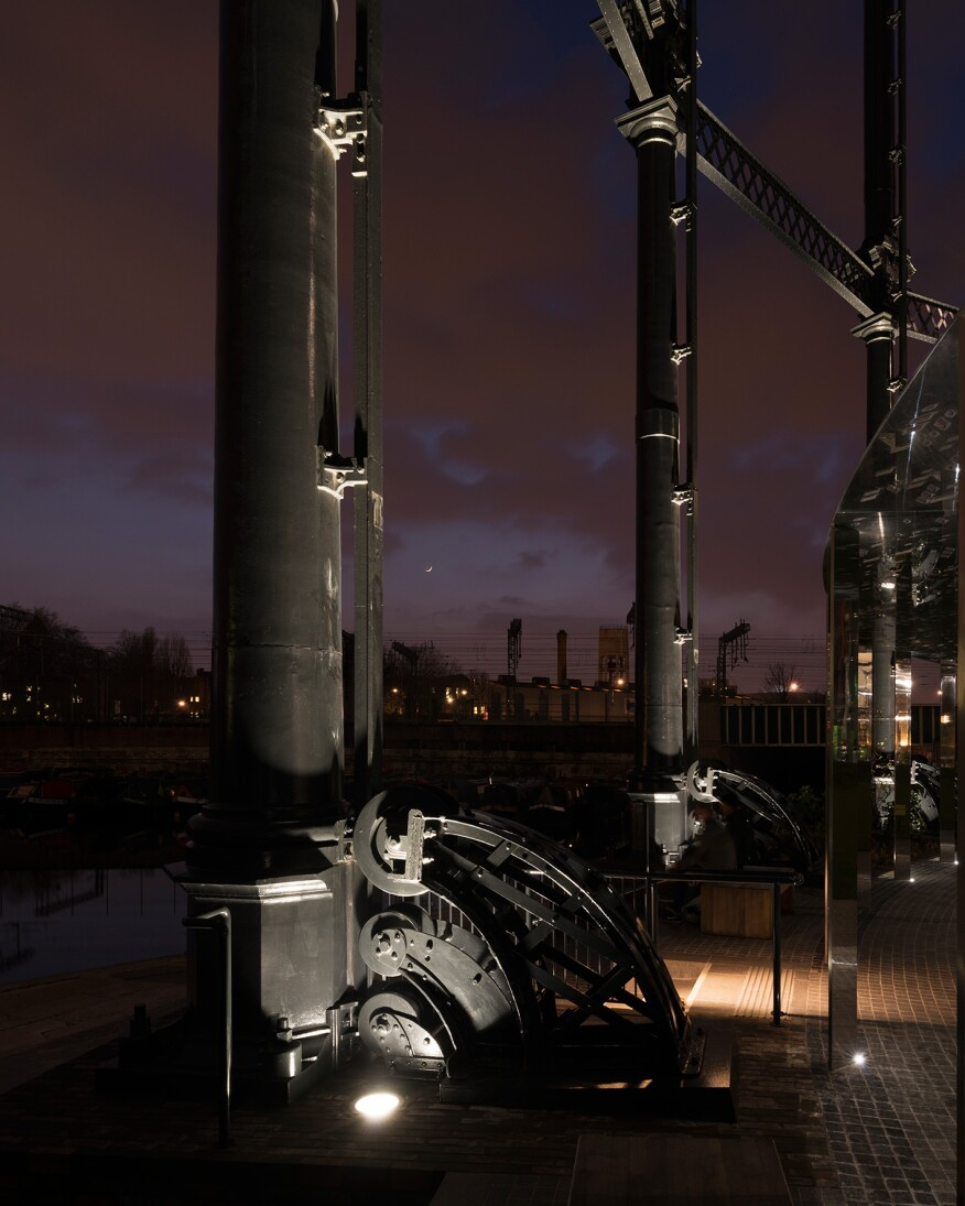 A closeup of the in-ground uplight at the Gasholder structure.